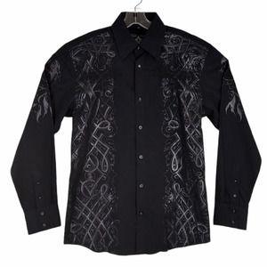 Roar Shirt Black Embroidered Wings Cross Sz S